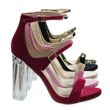 Toodee Red Velvet By Delicious, Clear Perspex Chunky Block Heel, Floral Embroidered Stitch Sandal