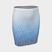 Ombre blue and white swirls doodles Fitted Skirt Fitted Skirt