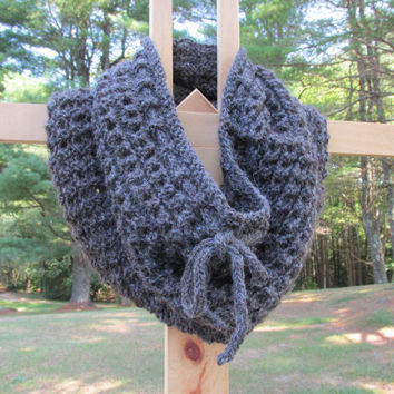 Tall Gray Alpaca Cowl