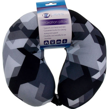 Neck Support Air Car Travel Pillow Black White Geometric Microbeads Relaxation