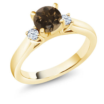 1.02 Ct Round Brown Smoky Quartz 18K Yellow Gold Plated Silver 3-Stone Ring