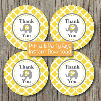Baby Shower Favor Labels Elephant Thank You Stickers Tags Labels Birthday Printable diy Yellow Grey Quatrefoil INSTANT DOWNLOAD PDF - 142