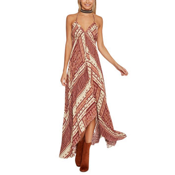 Women's Halter Style Rust Geometrical Patterned Asymmetrical Hem Summer BOHO Long Maxi Dress