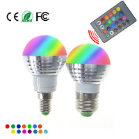 LED RGB Bulb Lamp E27 E14 AC85-265V 5W LED RGB Spot Blubs Light Magic Holiday RGB lighting+IR Remote Control 16 Colors