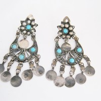 Egyptian Chandelier Silver Earrings with Clip On Mechanism