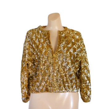 Gold Sequin Jacket New Years Eve Christmas Jacket Sequin Christmas Silver Sequin Holiday Clothing 50s Clothing Women Christmas 1950s Jacket