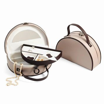 Taupe & Brown Leather Two Level Jewelry Box - Perfect Gift