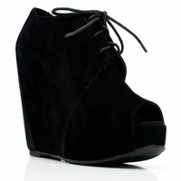 peep toe wedge bootie $28.60 in BLACK CAMEL CORAL FUCHSIA TAUPE TEAL TURQUOISE - Wedges | GoJane.com