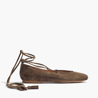 The Inga Lace-Up Flat in Suede