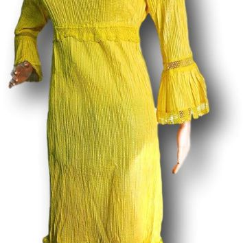 Canary yellow MAXI DRESS, vintage MEXICAN dresses, lace long sleeve boho wedding folklorico lemon outfit bright cotton crochet Mexico