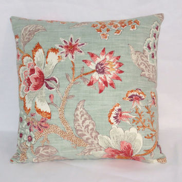 "Aqua and Orange Floral Throw Pillow  Kaufmann Room with a View Blue Cerulean Coral Pink Purple 17"" Cotton Square Ready Ship Cover and Insert"