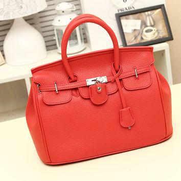Women's Red Leather Tote HandFashion Bag