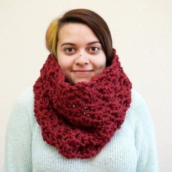 chunky lace cowl, lace scarf, wool cowl, red cowl, crochet cowl, lacy cowl, wool scarf, red scarf / THE KENZIE / Wine / Wool Acrylic