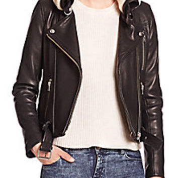 IRO - Kolia Shearling-Trim Leather Moto Jacket - Saks Fifth Avenue Mobile