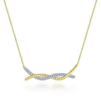 14K Yellow and White Gold Entwined Double Bar Diamond Necklace
