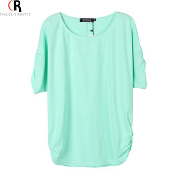 Women Mint Green Short Sleeve Ruched Batwing Sleeve Loose Casual Round Neck T-shirt Tee Top 2015 Summer Fashion