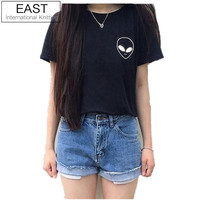 EAST KNITTING F1124 New Women T shirt Alien Pocket Print Funny Casual Hipster Shirt For Lady White Black Grey Top Tees Hipster