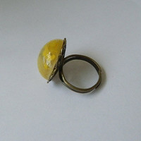 big yellow stone ring by JewelrybyDecember67 on Etsy