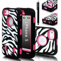E-lv Deluxe Zebra / Flower / Leopard Print Hard Soft High Impact Armor Case Combo for Apple Iphone 5 5g 5th Generation with 1 Front and Back Screen Protector, 1 Black Stylus and E-lv Microfiber Sticker Digital Cleaner (Hot Pink, Iphone 5)