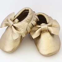 Gold Bow Leather Baby Moccasins |Baby Moccs | Online Baby Boutique