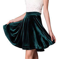 Summer Velvet Pleated Umbrella Skirt