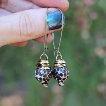 Crackle Agate Earrings Raw Gemstone Earrings Gemstone Dangle Earrings Boho Earrings Bohemian Earrings Boho Jewelry Bohemian Jewelry