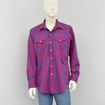 Vintage 70s Rockmount Ranch Wear Maroon and Navy Plaid Western Shirt, Pearl Snap Shirt, Mens Cowboy Shirt, Long Sleeve Shirt Size L