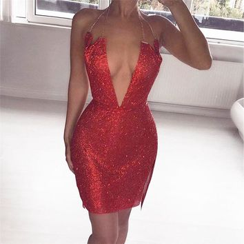 Sparkle Diamond Dress Metal chain Halter Shining Summer Dress Women Beach club Sequin Mini Sexy Party Dresses 2018 New Vestidos