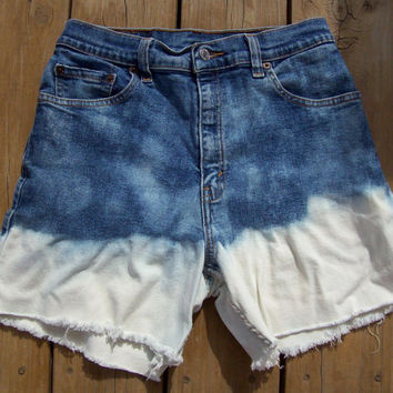 High Waisted Ombre Bleached Acid Wash Shorts Size by DenimAndStuds