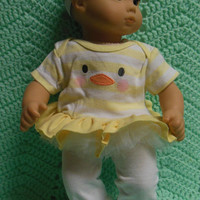 "AMERICAN GIRL Bitty Baby Clothes ""Easter Quack"" (15 inch) doll outfit dress, leggings, booties/ socks, and headband duck"