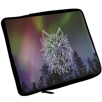 Wolf Northern Lights Night Line Art Artist's Journal Travel Bag