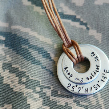 Keep My Solider Safe Latitude/Longitude Keychain - Long Distance Relationship / Military / Deployment