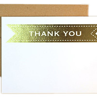 "Bannered ""Thank You"" Notes, Gold, Set of 24, Cards"