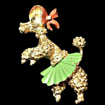 Florenza Poodle Brooch Dancing Dog Green Skirt Signed