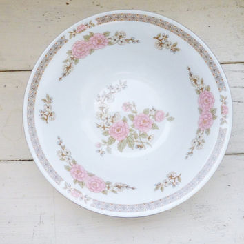 Fairfield China, Spring Mist Pattern, salad bowl, pink floral, fine china, vintage servingware, housewarming, wedding present, serving bowl