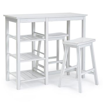 Breakfast Club Casual Counter Table With 2 Stools Distressed Chalk White