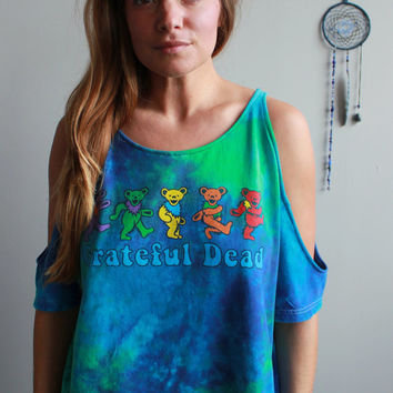 Grateful Dead Dancing Bears Tie Dye Eco Friendly Cut Out open Off The Shoulder Peep Shoulder Upcycled Tshirt/Tee/Top/Shirt Womens One Size