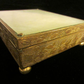 Jade Top Brass Ball Footed Sectional Floral Chasing Oriental Box