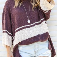 On Hold Loose Fit Faded Plum Sweater Top