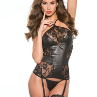 Kitten Lace & Wet Look Corset