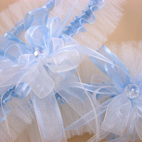 Blue Wedding Garter Set with Crystal Beads, Bridal Garter Set, Modern Garter, Stretch Garter, Crystal Garter, Prom Garter, Something Blue