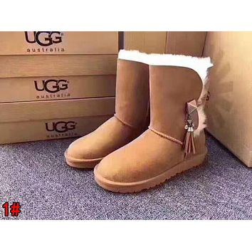 """UGG"" Trending Women Stylish Tassel Wool Snow Boots High Long Boots 1#"