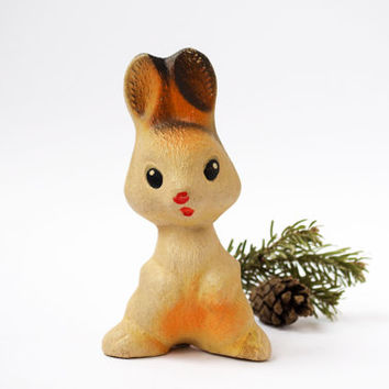 Vintage White Rabbit / Cute Soviet Collectable Rubber Squeaky Hare / 1970's - 1980's Russian Kitsch Woodland Animal Toy / Forest Creature