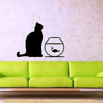 Wall Stickers Vinyl Decal Cat Fish Aquarium Animal Decor Unique Gift ig1359