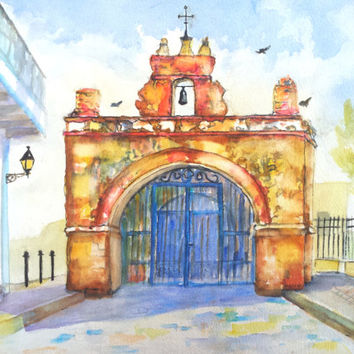 Puerto Rico, Capilla del Cristo, 12x16, Original Watercolor, Old San Juan, church of Christ, Puerto rican art,chapel, architecture,
