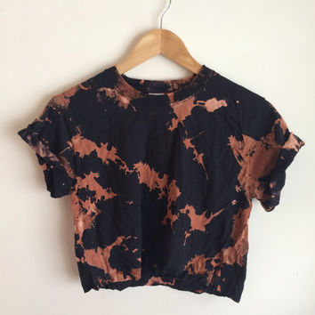 Bleached Black and Orange Tie Dye Crop Top/T-shirt