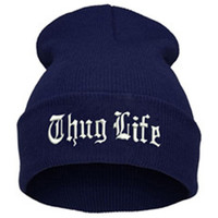 THUG LIFE Letter Embroidered Unisex Beanie Fashion 2pac Hip Hop Mens & Womens Knitted Navy Blue & White Tupac Cuffed Skully Hat