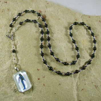 Nuit Prayer Bead Necklace in Blue Goldstone: Egyptian Goddess of the Sky and Stars