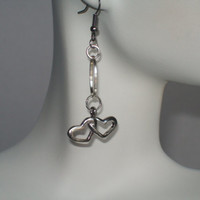 Double Heart Earrings, Silver Hearts, Heart Beat, Mother's Day, Birthday, Anniversary, Wedding,Heart Danglers