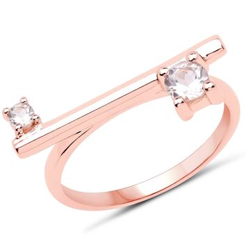 LoveHuang 0.28 Carats Genuine Morganite Handle Bar Ring Solid .925 Sterling Silver With 18KT Rose Gold Plating